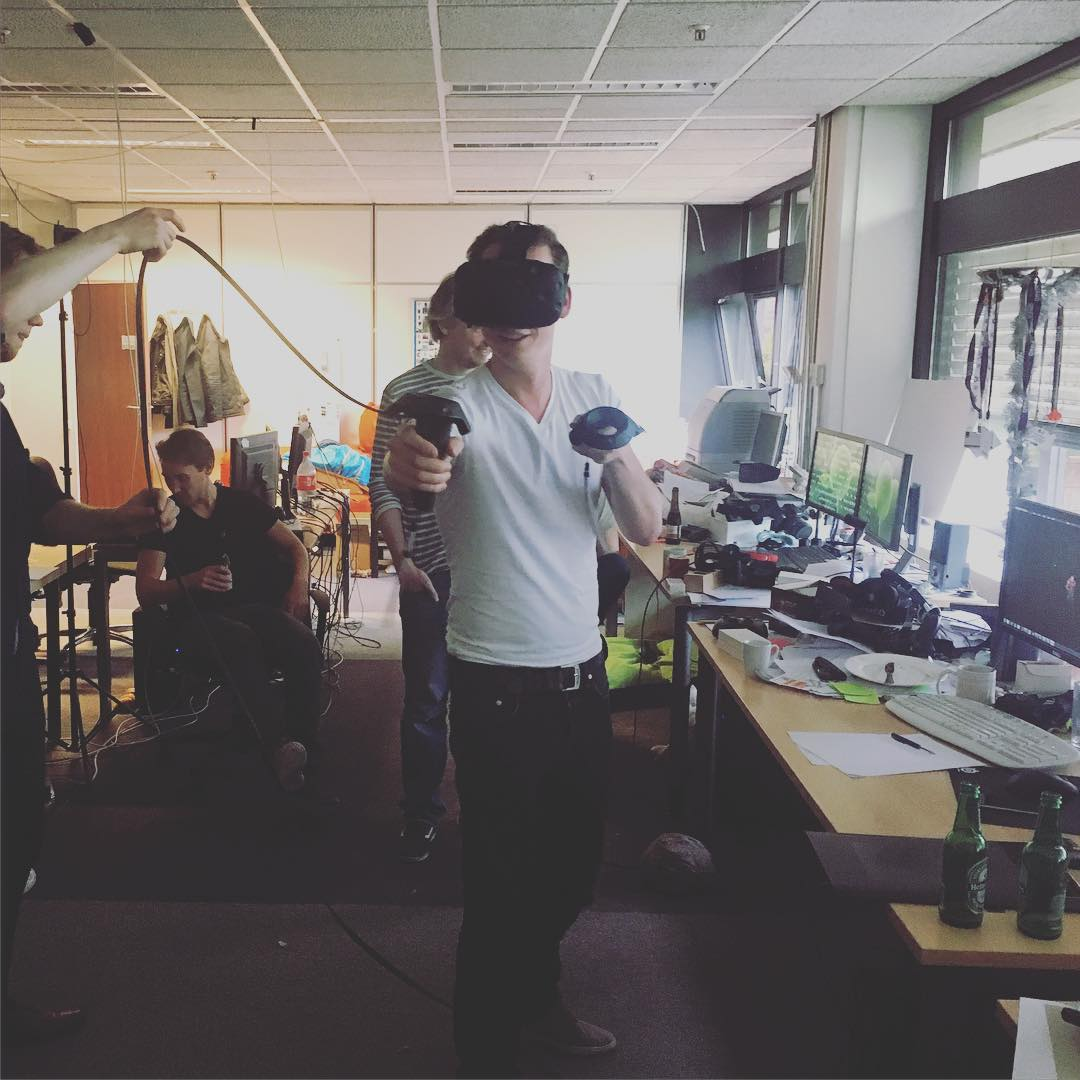 Killing some zombies in Virtual Reality... .